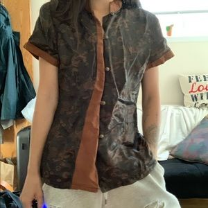 Brown Chinese patterned top
